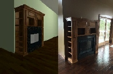 Knotty Alder Fireplace with bookcases